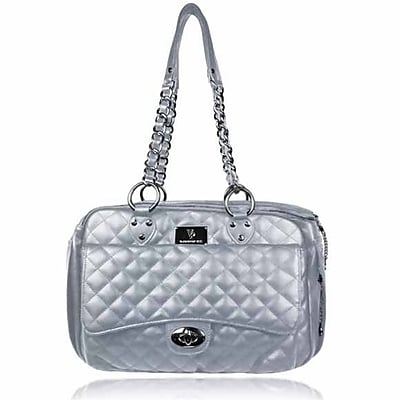 VanderpumpPets Classic Quilted Luxury Pet Carrier; Silver