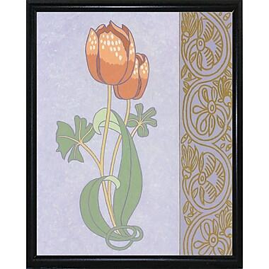 Winston Porter 'Rose Tulip w/ Right Border' Graphic Art Print; Black Metal Flat Framed Paper