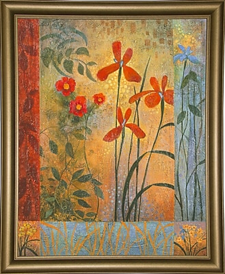 Winston Porter 'Floral Symphony 2' Graphic Art Print; Bistro Gold Framed Paper