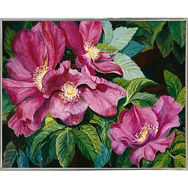 Charlton Home 'Wild Red Roses' Print; Silver Metal Framed