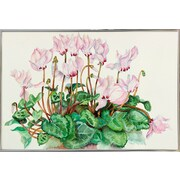 Charlton Home 'Pink Cyclamen' Print; Silver Metal Framed Paper