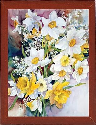 Charlton Home 'Spring Daffodils' Print; Red Mahogany Wood Medium Framed Paper