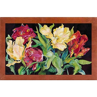 Charlton Home 'Red And Yellow Parrot Tulips' Print; Canadian Walnut Wood Medium Framed Paper
