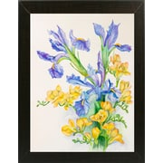 Charlton Home 'Iris w/ Gold Fuscia' Print; Brazilian Walnut Wood Medium Framed Paper