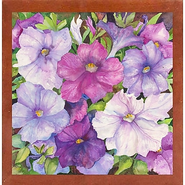 Winston Porter 'Petunias' Print; Canadian Walnut Wood Medium Framed Paper