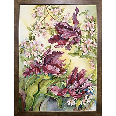 Winston Porter 'Parrot Tulips w/ Cherry Blossoms' Print; Cafe Mocha Framed Paper