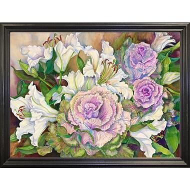 Winston Porter 'Lilies w/ Ornamental Cabbage' Print; Black Wood Grande Framed Paper
