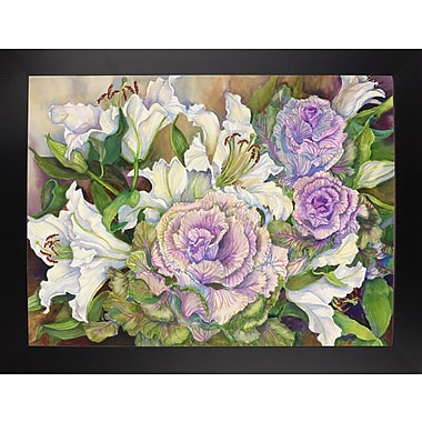 Winston Porter 'Lilies w/ Ornamental Cabbage' Print; Black Wood Large Framed Paper