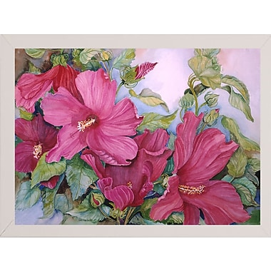 August Grove 'Tropical Heat' Print; White Wood Medium Framed Paper