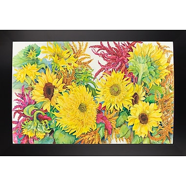 August Grove 'Sunflowers And Amaranth' Print; Black Wood Large Framed Paper
