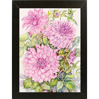 August Grove 'Lavender Dahlias' Framed Print; Brazilian Walnut Wood Medium Framed Paper