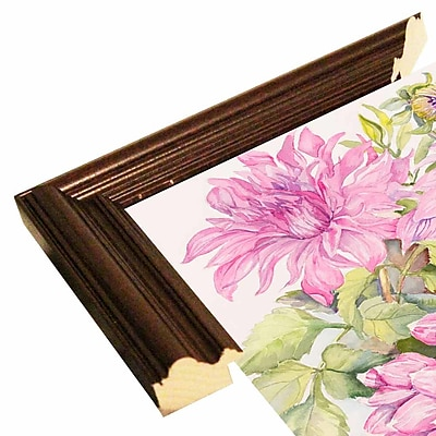 August Grove 'Lavender Dahlias' Framed Print; Cherry Wood Grande Framed Paper