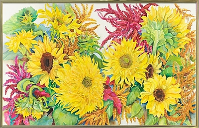 August Grove 'Sunflowers And Amaranth' Print; Gold Metal Framed