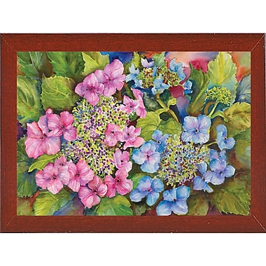 August Grove 'Lacy Hydrangea' Print; Red Mahogany Wood Medium Framed Paper