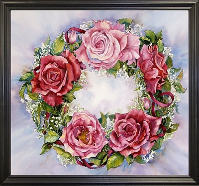 August Grove 'Rose Wreath' Print; Black Wood Grande Framed Paper