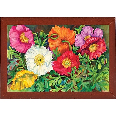 August Grove 'Iceland Poppies' Print; Red Mahogany Wood Medium Framed Paper