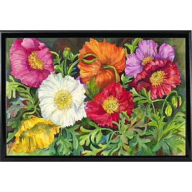 August Grove 'Iceland Poppies' Print; Shiny Black Metal Framed