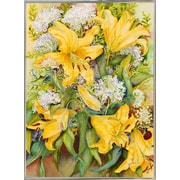 August Grove 'Bright Yellow Lillies' Print; Silver Metal Framed