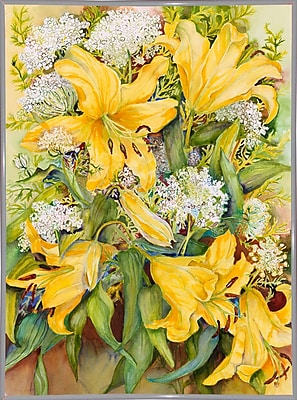 August Grove 'Bright Yellow Lillies' Print; White Metal Framed