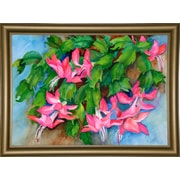 Bay Isle Home 'Christmas Cactus' Print; Bistro Gold Framed Paper