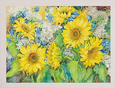 August Grove 'Here Comes The Sun' Print; White Wood Medium Framed Paper
