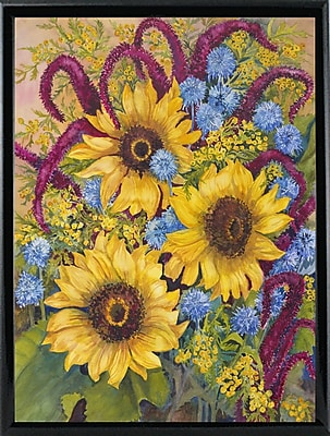 August Grove 'Sunflowers And Thistles' Print; Shiny Black Metal Framed