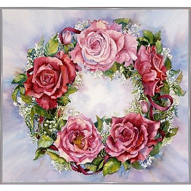 August Grove 'Rose Wreath' Print; White Metal Framed