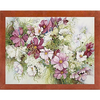 August Grove 'Cosmos And Queen Ann Lace' Print; Canadian Walnut Wood Medium Framed Paper