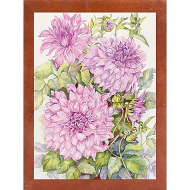 August Grove 'Lavender Dahlias' Framed Print; Canadian Walnut Wood Medium Framed Paper