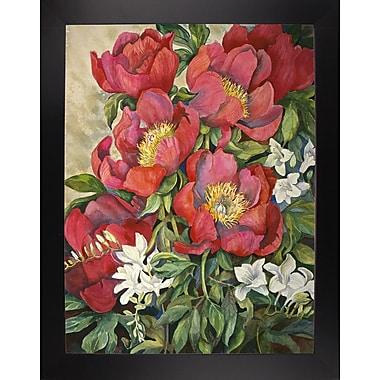 Charlton Home 'Red Peonies' Print; Black Wood Large Framed Paper