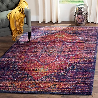 Mistana Elson Blue/Fuchsia Area Rug; Rectangle 12' x 18'