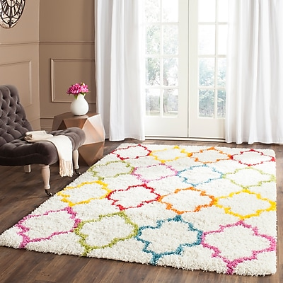 Zoomie Kids Madge Moroccan Ivory Area Rug; Rectangle 5'3'' x 7'6''