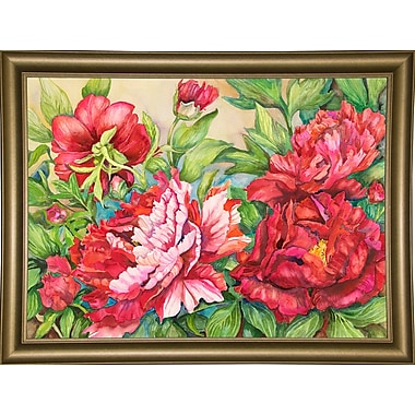August Grove 'Peonies' Rectangle Frame Print; Bistro Gold Framed Paper