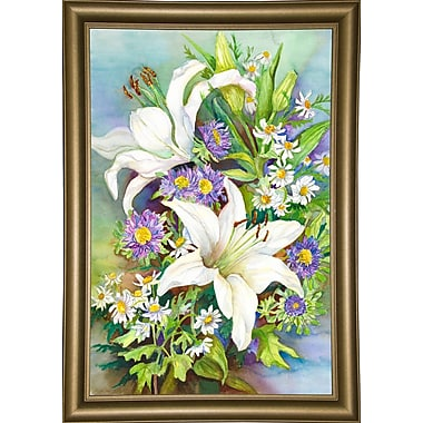 August Grove 'A Spring Bouquet' Print; Bistro Gold Framed Paper