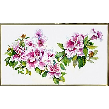 Charlton Home 'Pink Azaleas' Print; Gold Metal Framed Paper