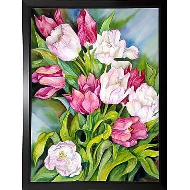Charlton Home 'Light Pink And Dark Tulips' Print; Black Plastic Framed Paper