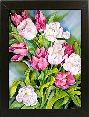 Charlton Home 'Light Pink And Dark Tulips' Print; Paper