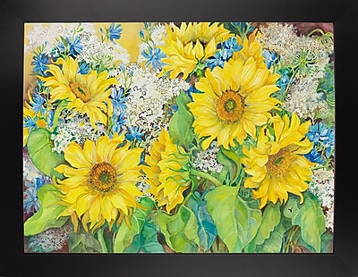 August Grove 'Here Comes The Sun' Print; Black Wood Large Framed Paper
