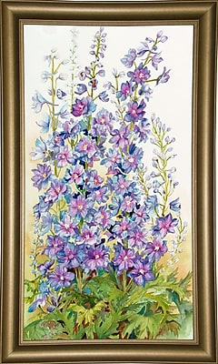 August Grove 'Delphinium Cluster' Print; Bistro Gold Framed Paper