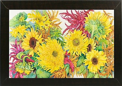 August Grove 'Sunflowers And Amaranth' Print; Brazilian Walnut Wood Medium Framed Paper