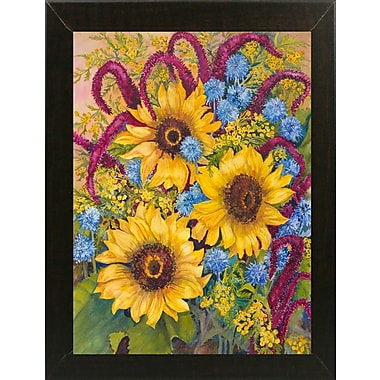 August Grove 'Sunflowers And Thistles' Print; Brazilian Walnut Wood Medium Framed Paper