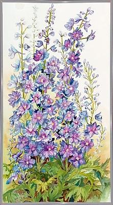 August Grove 'Delphinium Cluster' Print; White Metal Framed