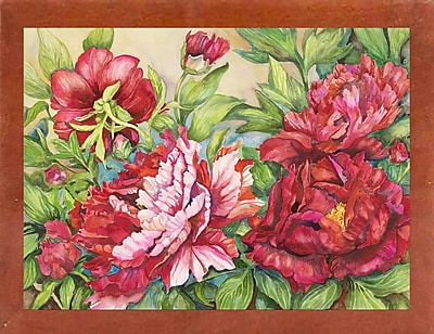 August Grove 'Peonies' Rectangle Frame Print; Canadian Walnut Wood Medium Framed Paper