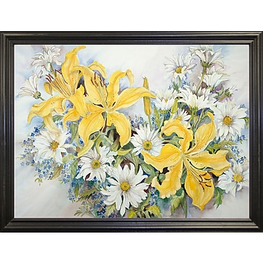 August Grove 'Yellow Lilies-Forget Me Nots-Daisy's' Print; Black Wood Grande Framed Paper