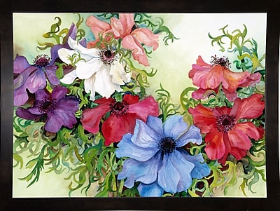August Grove 'A Rainbow Of Anemones' Framed Print; Black Wood Medium Framed Paper