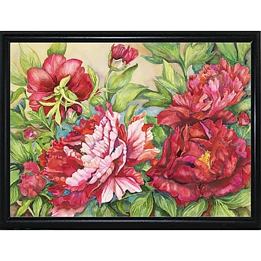 August Grove 'Peonies' Rectangle Frame Print; Flat Back Metal Framed