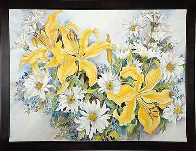 August Grove 'Yellow Lilies-Forget Me Nots-Daisy's' Print; Cafe Espresso Wood Framed Paper