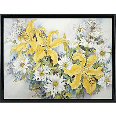 August Grove 'Yellow Lilies-Forget Me Nots-Daisy's' Print; Shiny Black Metal Framed