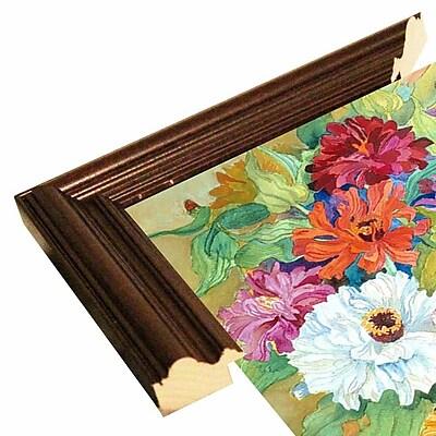 August Grove 'Mardi Gras Zinnias' Framed Print; Cherry Wood Grande Framed Paper