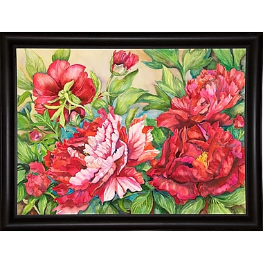 August Grove 'Peonies' Rectangle Frame Print; Bistro Expresso Framed Paper